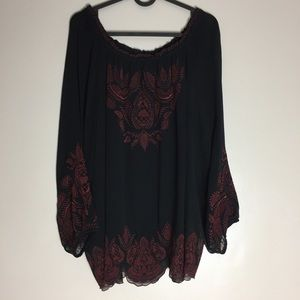 Joie | Navy Blouse With Maroon Embroidery